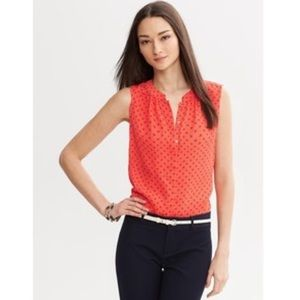 Banana Republic Red Anchor Print Sleeveless Blouse